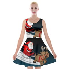 Christmas Reindeer Santa Claus Snow Star Blue Sky Velvet Skater Dress