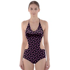 Twisted Mesh Pattern Purple Black Cut Out One Piece Swimsuit