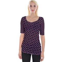 Twisted Mesh Pattern Purple Black Wide Neckline Tee by Alisyart