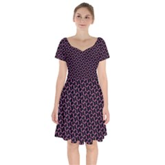 Twisted Mesh Pattern Purple Black Short Sleeve Bardot Dress by Alisyart