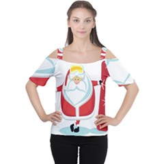 Christmas Santa Claus Cutout Shoulder Tee