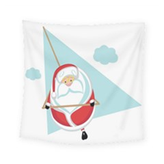 Christmas Santa Claus Paragliding Square Tapestry (small)