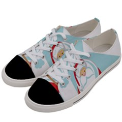 Christmas Santa Claus Paragliding Women s Low Top Canvas Sneakers by Alisyart