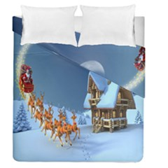 Christmas Reindeer Santa Claus Wooden Snow Duvet Cover Double Side (queen Size)