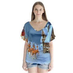 Christmas Reindeer Santa Claus Wooden Snow V Neck Flutter Sleeve Top