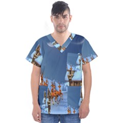 Christmas Reindeer Santa Claus Wooden Snow Men s V Neck Scrub Top