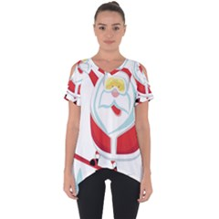 Christmas Santa Claus Playing Sky Snow Cut Out Side Drop Tee