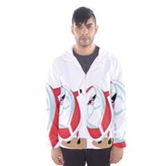 Christmas Santa Claus Snow Cool Sky Hooded Wind Breaker (men) by Alisyart