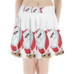 Christmas Santa Claus Snow Cool Sky Pleated Mini Skirt