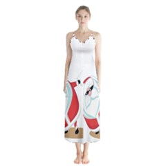 Christmas Santa Claus Snow Cool Sky Button Up Chiffon Maxi Dress