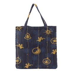 Christmas Angelsstar Yellow Blue Cool Grocery Tote Bag by Alisyart