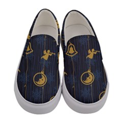 Christmas Angelsstar Yellow Blue Cool Women s Canvas Slip Ons