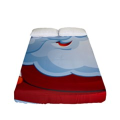Christmas Santa Claus Snow Red White Fitted Sheet (full/ Double Size)