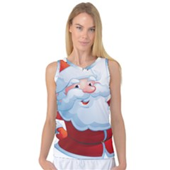Christmas Santa Claus Snow Red White Women s Basketball Tank Top