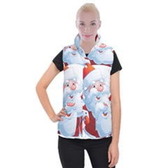 Christmas Santa Claus Snow Red White Women s Button Up Puffer Vest