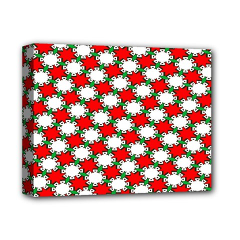 Christmas Star Red Green Deluxe Canvas 14  X 11