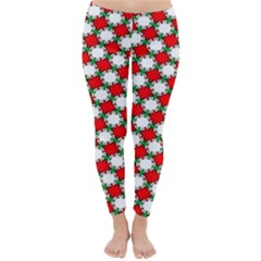 Christmas Star Red Green Classic Winter Leggings