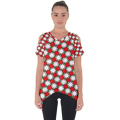 Christmas Star Red Green Cut Out Side Drop Tee
