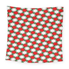 Christmas Star Red Green Square Tapestry (large)