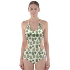 Christmas Pattern Gif Star Tree Happy Cut Out One Piece Swimsuit
