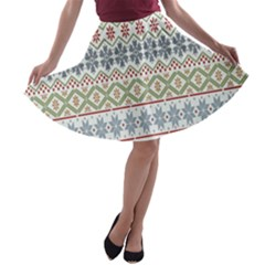Christmas Star Flower Red Blue A Line Skater Skirt
