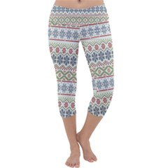 Christmas Star Flower Red Blue Capri Yoga Leggings by Alisyart