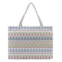 Christmas Star Flower Red Blue Medium Tote Bag by Alisyart