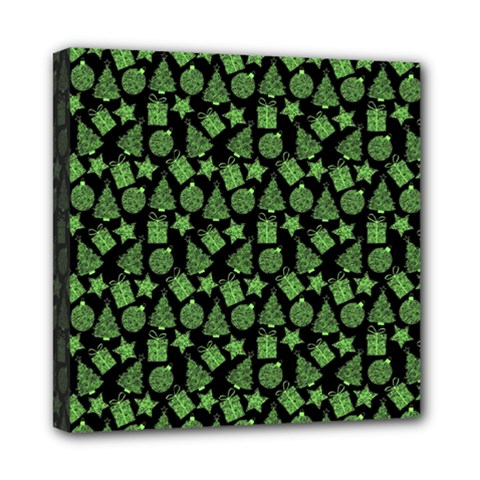 Christmas Pattern Gif Star Tree Happy Green Mini Canvas 8  X 8  by Alisyart