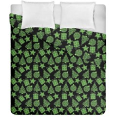 Christmas Pattern Gif Star Tree Happy Green Duvet Cover Double Side (california King Size)