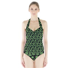 Christmas Pattern Gif Star Tree Happy Green Halter Swimsuit by Alisyart
