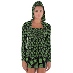 Christmas Pattern Gif Star Tree Happy Green Long Sleeve Hooded T Shirt by Alisyart