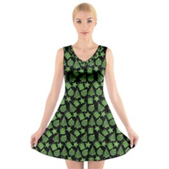 Christmas Pattern Gif Star Tree Happy Green V Neck Sleeveless Skater Dress