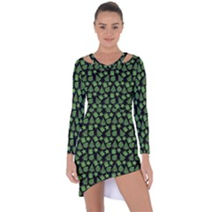 Christmas Pattern Gif Star Tree Happy Green Asymmetric Cut Out Shift Dress