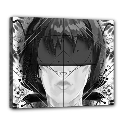 Beautiful Bnw Fractal Feathers For Major Motoko Deluxe Canvas 24  X 20   by jayaprime