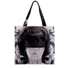 Beautiful Bnw Fractal Feathers For Major Motoko Grocery Tote Bag by jayaprime