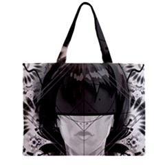 Beautiful Bnw Fractal Feathers For Major Motoko Zipper Mini Tote Bag by jayaprime