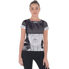 Beautiful Bnw Fractal Feathers For Major Motoko Short Sleeve Sports Top  by jayaprime