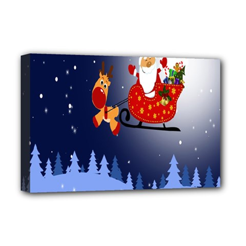 Deer Santa Claus Flying Trees Moon Night Merry Christmas Deluxe Canvas 18  X 12