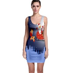 Deer Santa Claus Flying Trees Moon Night Merry Christmas Bodycon Dress by Alisyart