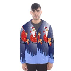 Deer Santa Claus Flying Trees Moon Night Merry Christmas Hooded Wind Breaker (men) by Alisyart