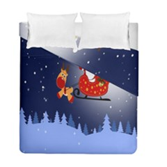 Deer Santa Claus Flying Trees Moon Night Merry Christmas Duvet Cover Double Side (full/ Double Size) by Alisyart
