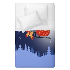 Deer Santa Claus Flying Trees Moon Night Merry Christmas Duvet Cover (single Size) by Alisyart