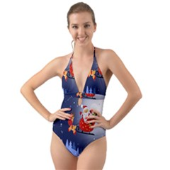 Deer Santa Claus Flying Trees Moon Night Merry Christmas Halter Cut-out One Piece Swimsuit by Alisyart