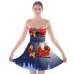 Deer Santa Claus Flying Trees Moon Night Merry Christmas Strapless Bra Top Dress