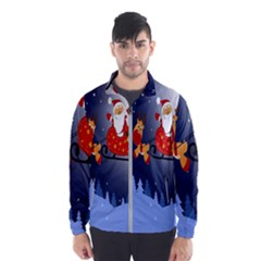 Deer Santa Claus Flying Trees Moon Night Merry Christmas Wind Breaker (men)