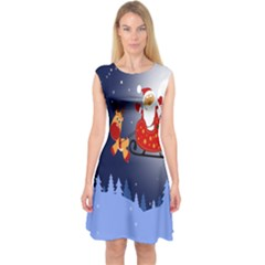 Deer Santa Claus Flying Trees Moon Night Merry Christmas Capsleeve Midi Dress