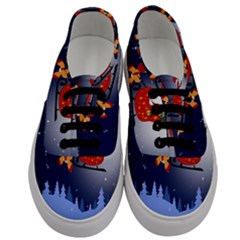 Deer Santa Claus Flying Trees Moon Night Merry Christmas Men s Classic Low Top Sneakers