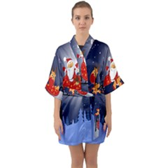 Deer Santa Claus Flying Trees Moon Night Merry Christmas Quarter Sleeve Kimono Robe