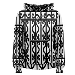 Inspirative Iron Gate Fence Grey Black Women s Pullover Hoodie