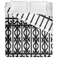 Inspirative Iron Gate Fence Grey Black Duvet Cover Double Side (california King Size)